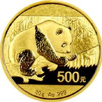 Motif sur l'avers d'une pièce Panda or de 30 grammes