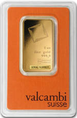 Le resto du lingot d'or Valcambi de 1 once
